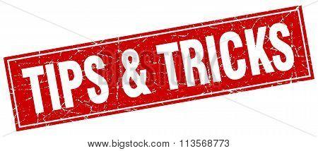 Tips & Tricks Red Square Grunge Stamp On White