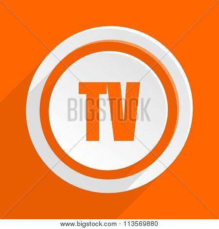 tv orange flat design modern icon for web and mobile app