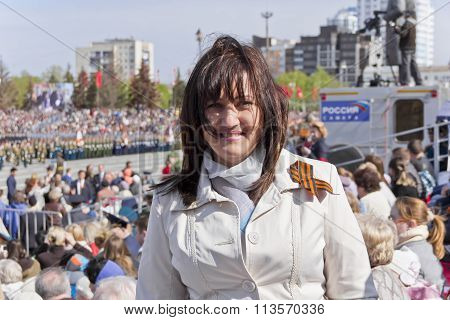 Russian Woman On Celebration In Honor Of The Annual Victory Day