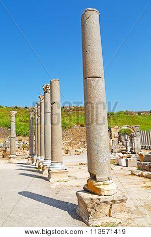 Column In Old  Temple   Ephesus    Sky  The Ruins