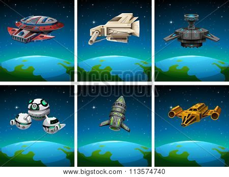Spaceships floating in the dark space illustration