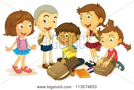 Boys and girls packing schoolbag illustration