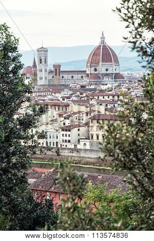 Cathedral Santa Maria Del Fiore And Giotto's Campanile In Florence, Italy, Vertical Composition