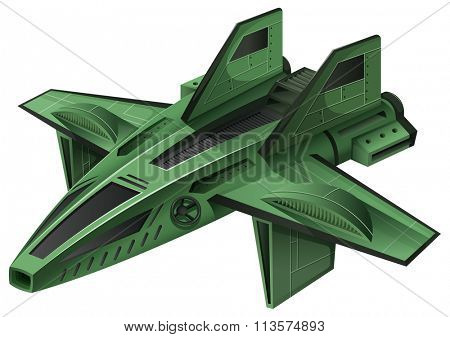 Green spaceship on white background illustration