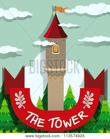 Tall tower with single window illustration