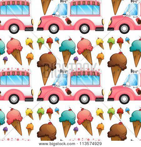 Seamless icecream and truck illustration