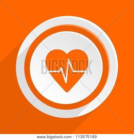 pulse orange flat design modern icon for web and mobile app