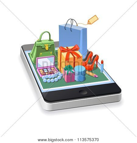 Mobile online shopping of woman accessories concept. gift boxes, pomade, shoes,