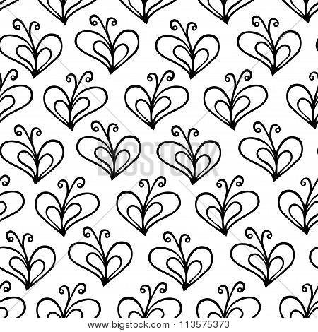 butterfly heart vector seamless pattern