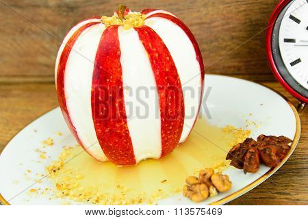 Apple Stuffed with Cream Cheese Dietary Food. Brunch.