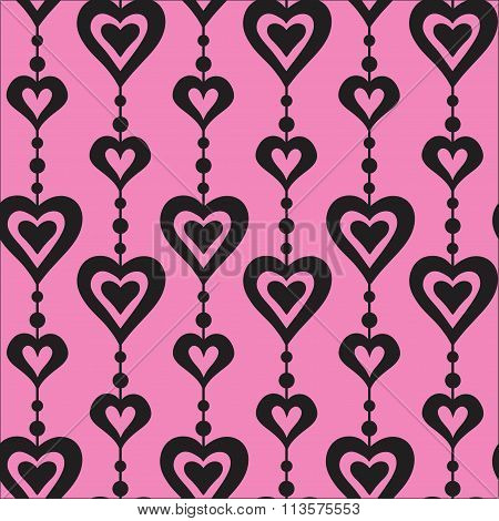 hearts and pearls vector seamless pattern