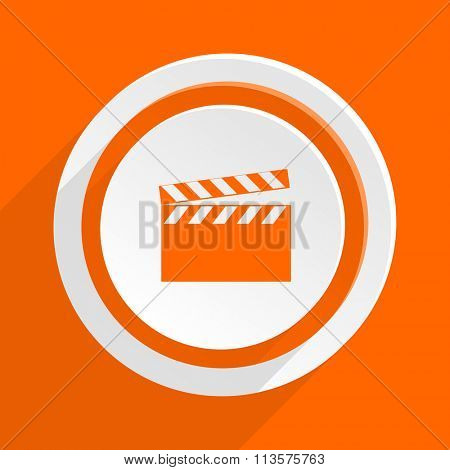 video orange flat design modern icon for web and mobile app