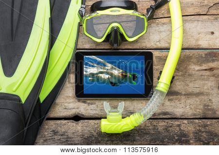 Mock Up Snorkelling Equipment On Wooden Background