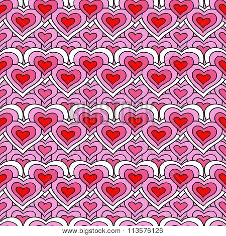 Pink chain of hearts vector seamless pattern