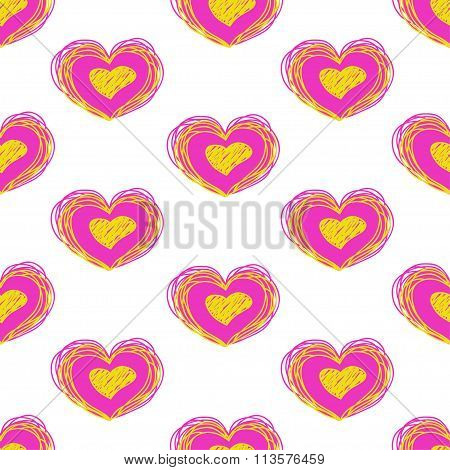 bright heart vector seamless pattern