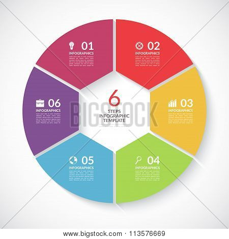 Infographic circle banner. Vector template with 6 steps, parts, options