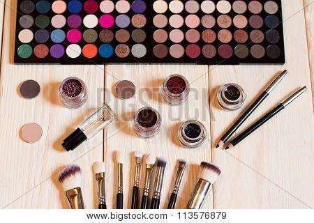 Top View Of Makeup Set