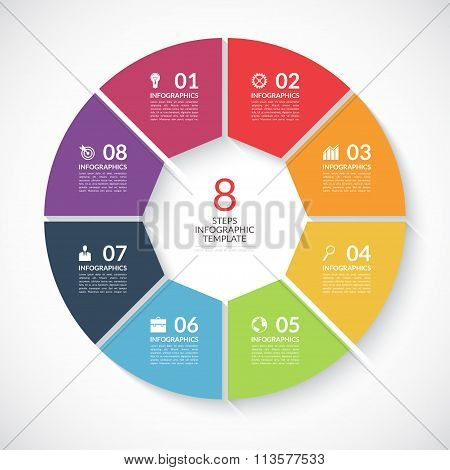 Infographic circle banner. Vector template with 8 steps, parts, options