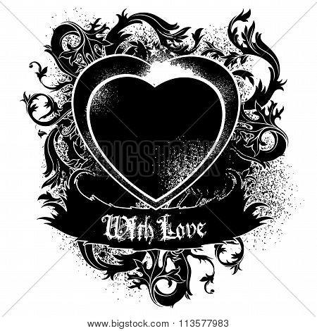 heart frame black