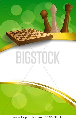 Background abstract green gold chess game brown beige board figures gold frame ribbon vertical