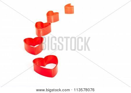 Five Red Heart 3D Shapes Sequence Isolated White