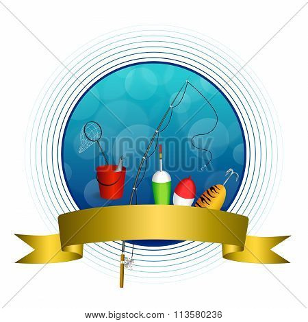 Background abstract blue white fishing rod red bucket fish net float spoon yellow green gold ribbon