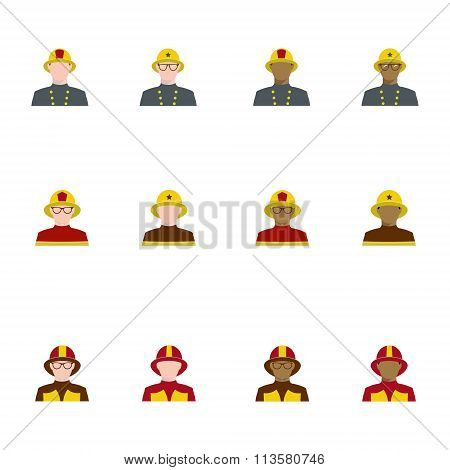 Set Of Firefighters In Flat Style, Different Races.