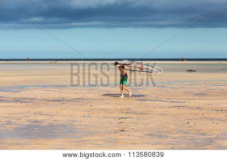 FUERTEVENTURA, SPAIN - SEPTEMBER 14, 2015: Windsurfing on the beach of Costa Calma .Fuerteventura Canary Island . Spain