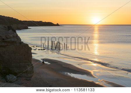 Port Willunga Beach, South Australia At Sunset