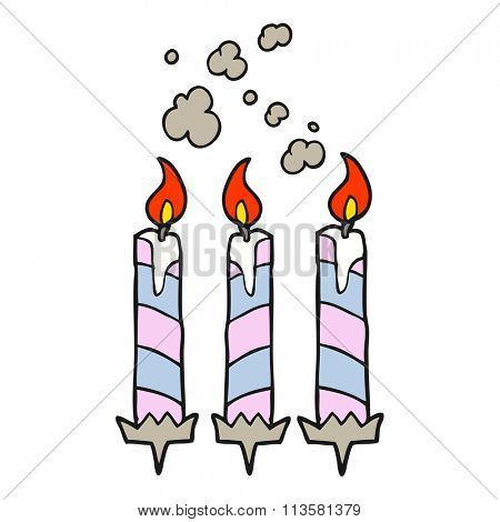freehand drawn cartoon birthday cake candles