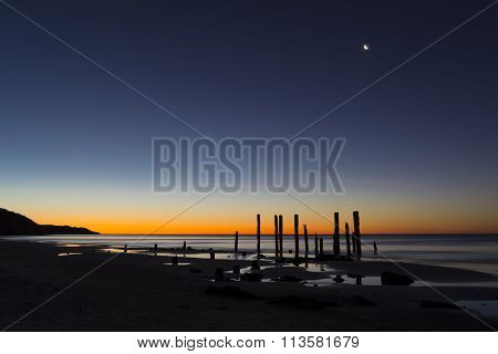 Port Willunga Beach, South Australia At Sunset With Moon On Show