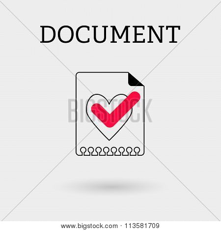 Document With Tick And Heart. Outline Style.