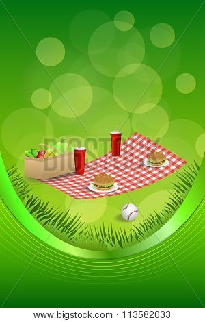 Background abstract picnic basket hamburger drink vegetables baseball ball frame ribbon vertical