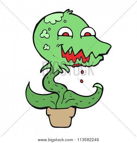 freehand drawn cartoon monster plant