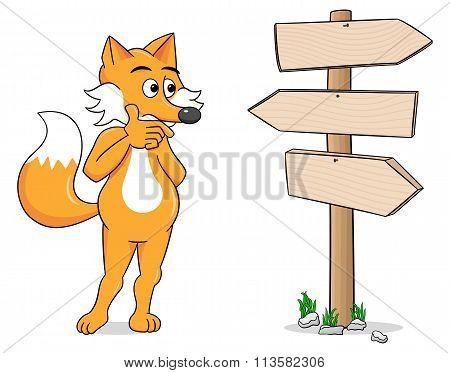 Cartoon Fox Looking At Empty Signpost