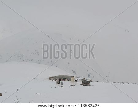 Military base on snow clad mountains