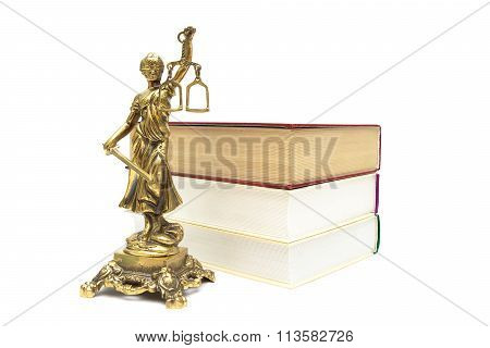 Bronze Statue Of Justice And Books On White Background