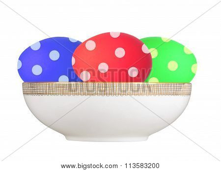 Colorful Easter Eggs In Plate Isolated On White