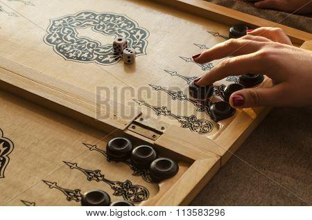 vintage wooden backgammon
