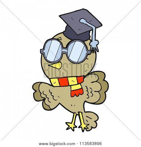 cute freehand drawn cartoon well educated bird