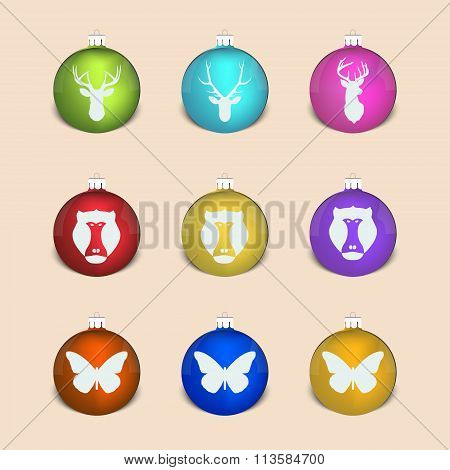 Set Of Christmas Decoration Ball With Monkey, Deer, Butterfly
