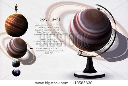Saturn - High resolution images presents planets of the solar system. This image elements furnished