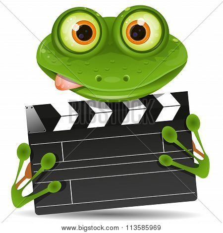 Frog With Movie Clapper