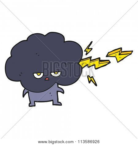 freehand drawn cartoon raincloud character shooting lightning