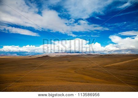 The Road Crosses The Steppe