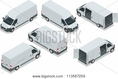 Truck for transportation cargo. Van for the carriage of cargo. Delivery car. Vector isometric illust