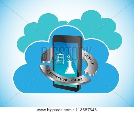 Mobile Application Testing, Vector Illustration