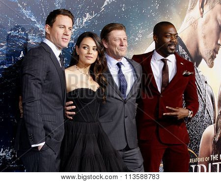 Sean Bean, David Ajala, Channing Tatum and Mila Kunis at the Los Angeles premiere of