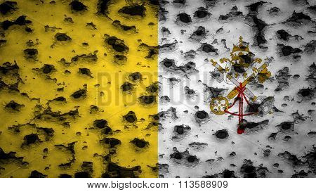 Flag of Vatican City, Papacy flag painted on wall with bullet holes