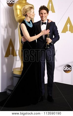 Eddie Redmayne and Cate Blanchett at the 87th Annual Academy Awards - Press Room held at the Loews Hollywood Hotel in Los Angeles, USA February 22, 2015.